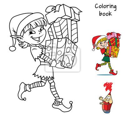 Elfe De Noel Avec Des Cadeaux Livre De Coloriage Illustration