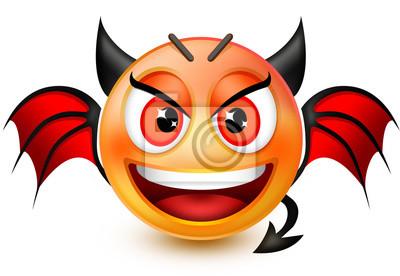 Emoticone Drole Émoticône drôle de visage diable-like ou 3d emoji démon rouge papier
