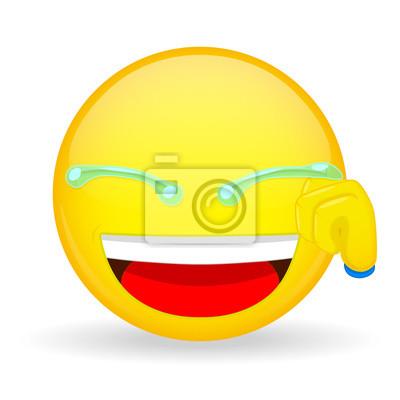 Emoticone Drole Émoticône, main, lingettes, larmes. émoticône de rire. emoticon