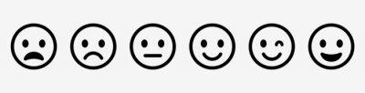 Papiers peints Emoticons set. Emoji faces collection. Emojis flat style. Happy and sad emoji. Line smiley face - stock vector.