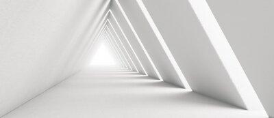 Papiers peints Empty Long Light Corridor. Modern white background. Futuristic Sci-Fi Triangle Tunnel. 3D Rendering