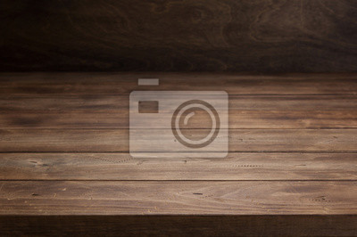 Papiers peints empty wooden table in front, plank board background texture surface