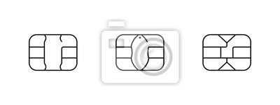 Papiers peints EMV chip icon for bank plastic credit or debit charge card. Vector line symbol illustration