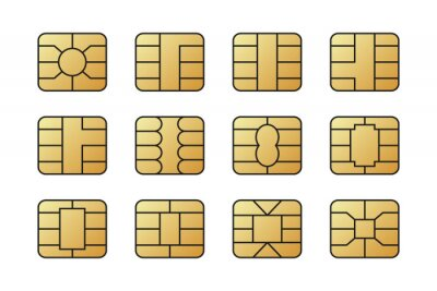 Papiers peints EMV chips for banking plastic card. Digital Nfc technology. Bank payment symbols.