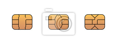 Papiers peints EMV gold chip icon for bank plastic credit or debit charge card. Vector symbol illustration