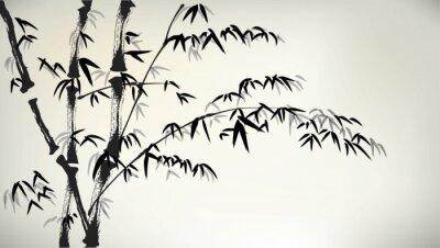 Papiers peints encre bambou peints