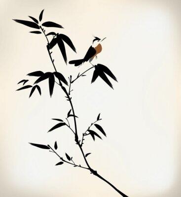 Papiers peints encre peint bambou et oiseaux