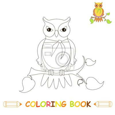 Papiers Peints Enfants Coloration Page Illustration Vectorielle Hibou Mignon