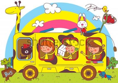 Papiers peints Enfants en autobus scolaire
