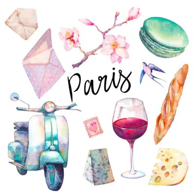 Papiers peints Ensemble Aquarelle Paris. Éléments dessinés à la main de la culture française isolée sur fond blanc: scooter vintage, macaron, fromage, verre à vin rouge, magnolia brach, baguette.