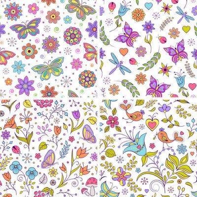Papiers peints Ensemble d'arrière-plans floraux.