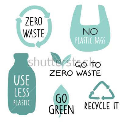 Papiers peints Ensemble d'éléments d'illustration Eco et lettres manuscrites. Recyclez-le, utilisez moins de plastique, passez au vert. Slogan de la vie zéro gaspillage, typographie. Illustration vectorielle