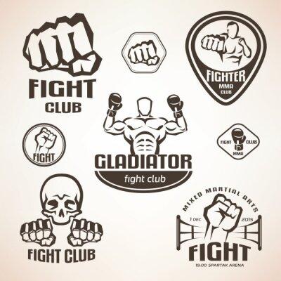 Papiers peints Ensemble d'emblèmes de club de combat, MMA, étiquettes de boxe et bages