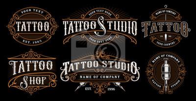 Papiers peints Ensemble d'emblèmes de tatouage vintage (VERSION FOR DARK BACKGROUND)
