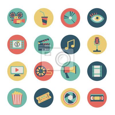 ensemble d'icônes de films plats