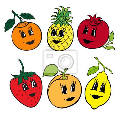 Fruit Dessin ensemble de 6 drôle dessin animé fruit isolé sur a blanc fond papier