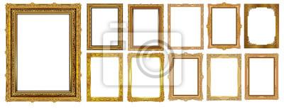 Papiers peints Ensemble de cadres vintage décoratifs et bordures ensemble, cadre photo or avec coin Thaïlande ligne floral pour l'image, style de motif de décoration design vectoriel. la conception de la frontière e