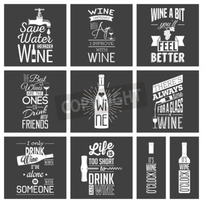 Papiers peints Ensemble de citations typographiques de vin vintage.