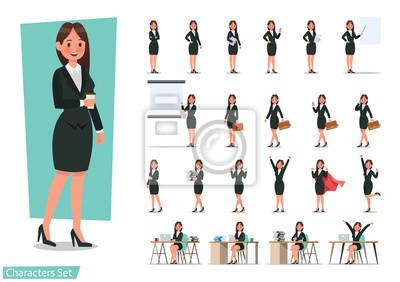 Papiers peints Ensemble de conception de personnage de femme d'affaires.