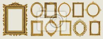 Papiers peints Ensemble de conception de photo cadre royal doré et vert invitation