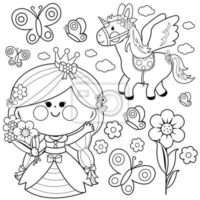 Coloriage De Princesse Et Fee.Ensemble De Conte De Fees Princesse Coloriage Papier Peint
