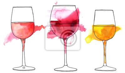 Papiers peints Ensemble de dessins vectoriels et aquarelles de verres à vin