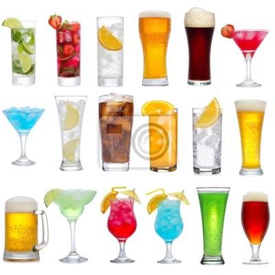 Ensemble de différentes boissons, des cocktails et de la bière