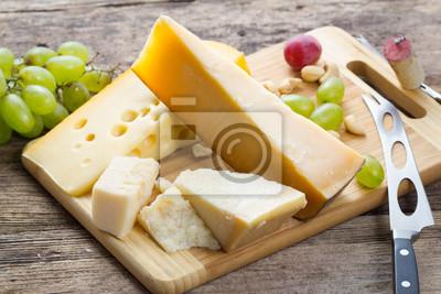 Papiers peints Ensemble, de, divers, fromage, à, vin, sur, bois, fond