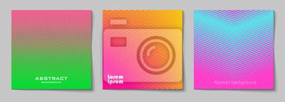 Papiers peints Ensemble de fonds Résumé carrés avec motif de demi-teintes dans les couleurs au néon. Collection de textures dégradées avec ornement géométrique. Modèle de conception de flyer, bannière, couverture, a