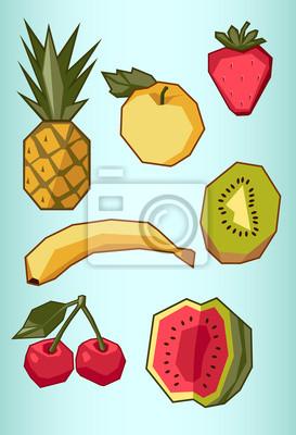 ensemble de fruits: ananas, pomme, banane, cerise, fraise, wate