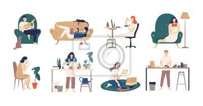 Papiers peints Ensemble de jeunes hommes et femmes qui passent le week-end à la maison - jouer de la guitare, manger des sushis, lire des livres, surfer sur Internet, écouter de la musique, cuisiner. Illustration ve