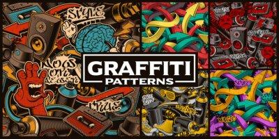 Papiers peints Ensemble de modèles sans couture avec l'art du graffiti