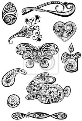 ensemble de motifs en noir et blanc graphiques de Pâques