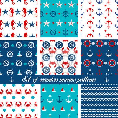 Ensemble de motifs marins sans couture. Illustration vectorielle