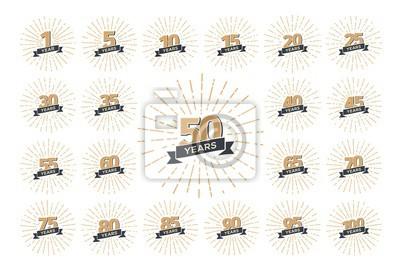 Papiers peints Ensemble de numéros de logo anniversaire isolés avec illustration vectorielle de ruban et de feux d'artifice. Collection isolée d'icônes vintage de vacances, anniversaire, célébrant