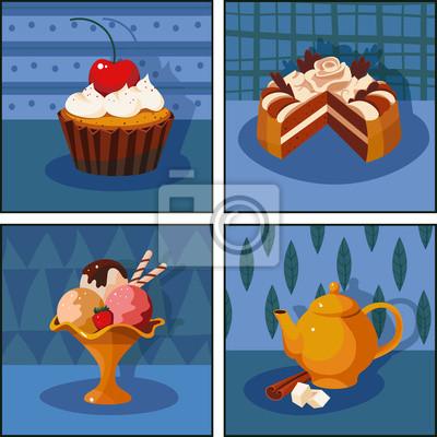 Ensemble de photos: dessert, gâteau, crème glacée, thé