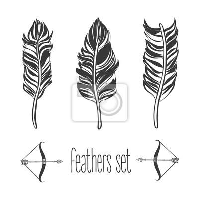 Ensemble de plumes dessinées à la main, illustration vectorielle