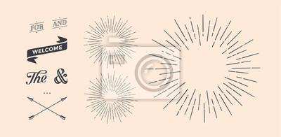 Papiers peints Ensemble de rayons de lumière, rayon de soleil et rayons de soleil. Éléments de conception, dessin linéaire, style vintage hipster. Rayons de lumière rayon de soleil, flèche, ruban, et, pour, et etper