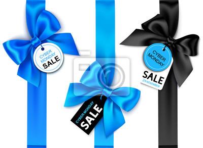 Papiers peints Ensemble de ruban bleu vertical décoratif avec un arc et une étiquette de prix pour la conception de vente cyber lundi. Décoration de vacances de vecteur et étiquette isolé sur fond blanc