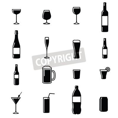 Papiers peints Ensemble, de, seize, boissons, noir, blanc, silhouette, vecteur, Illustrations
