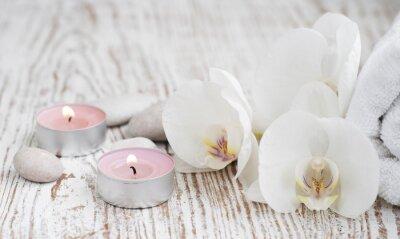 Papiers peints ensemble de Spa avec des orchidées blanches