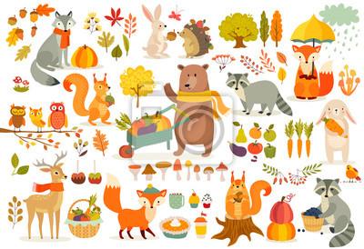 Papiers peints Ensemble de thèmes, forêt animaux style dessiné à la main.