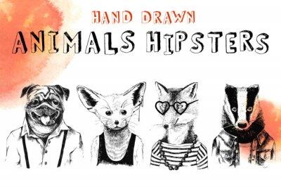 Papiers peints Ensemble hipsters pour animaux tirés à la main