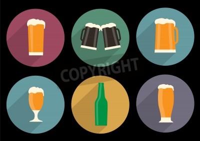 Papiers peints Ensemble, plat, bière, icônes, long, ombre