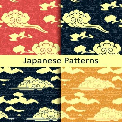 Papiers peints Ensemble, quatre, japonaise, traditionnel, nuageux, modèles