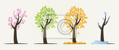 Papiers peints Ensemble, quatre, saisons, Arbres