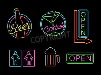 Papiers peints Ensemble, retro, style, néon, lumière, contour, signe, icônes, barre, bière, ouvert, affaires, cocktail.