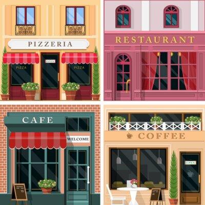 Papiers peints Ensemble, vecteur, détaillé, plat, conception, restaurants, cafés, façade, icônes Conception extérieure graphique fraîche pour des affaires de restaurant.