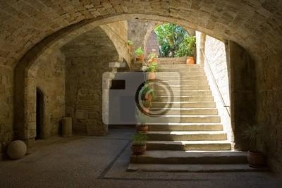 Entrée de la maison dans l'ancienne ville de Rhodes, Rhodes, Grèce