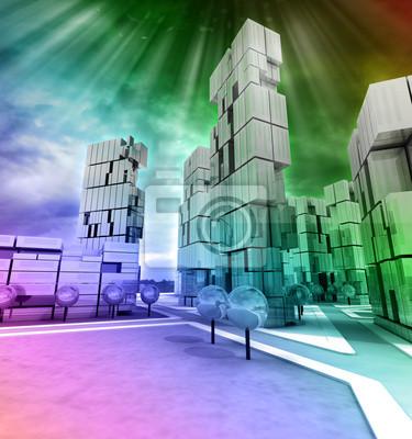 Entreprise moderne ville arc-en-couleur avec brio